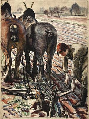 Plow Horse Painting - Army Girl by Mountain Dreams