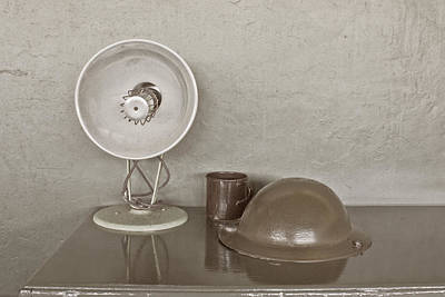 Photograph - Army Helmet A Heater And A Mug by Terri Waters