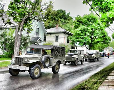 Army Jeeps On Parade Art Print