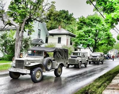 Army Jeeps On Parade Art Print by Rena Trepanier