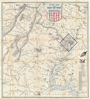Army Map Of Seat Of War In Virginia 1862 Print by Stephen Stookey