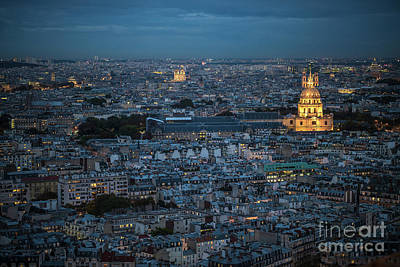Photograph - Army Museum And Notre Dame De Paris Night View From The Eiffel Tower by Mike Reid