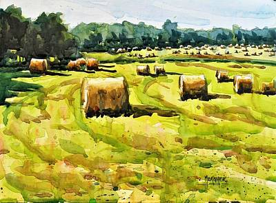 Bales Painting - Army Of Hay Bales by Spencer Meagher