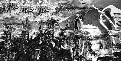 Painting - Army Of Men - Contemporary Black And White Abstract Art Painting by Modern Art Prints
