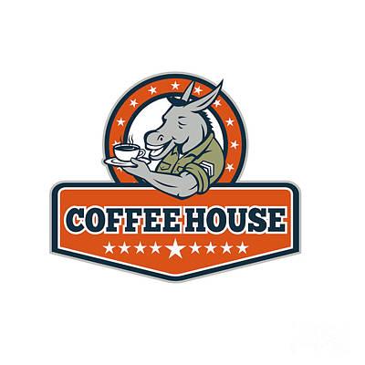 Army Sergeant Donkey Coffee House Cartoon Art Print