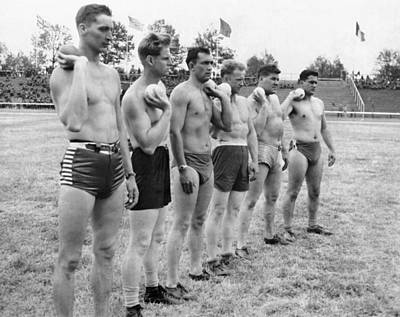 Hitler Photograph - Army Shot Putters In Germany by Underwood Archives