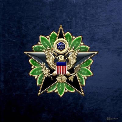 Digital Art - Army Staff Identification Badge On Blue Velvet by Serge Averbukh