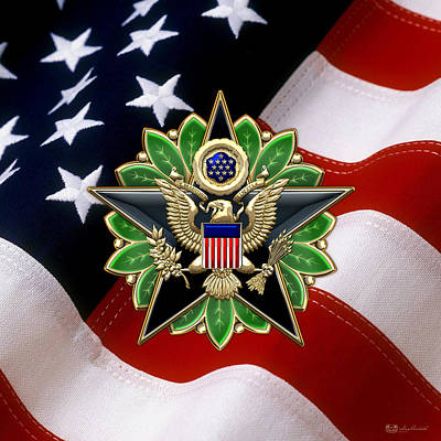 Digital Art - Army Staff Identification Badge Over U. S. Flag by Serge Averbukh