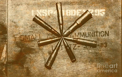 Ammunition Photograph - Army Star Bullets by Jorgo Photography - Wall Art Gallery