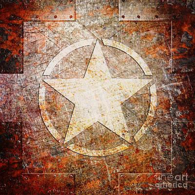 Digital Art - Army Star On Rust by Fred Ber