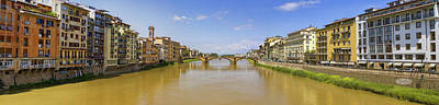 Photograph - Arno River And Old Bridge In Florence, Firenze, Italia by Elenarts - Elena Duvernay photo