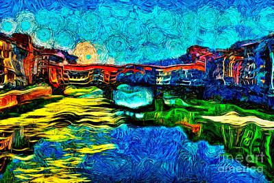 Painting - Arno River Florence Italy by Milan Karadzic