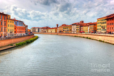 Town Photograph - Arno River In Pisa, Tuscany, Italy by Michal Bednarek