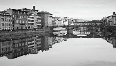 Photograph - Arno River Reflection, Florence, Italy by Richard Goodrich