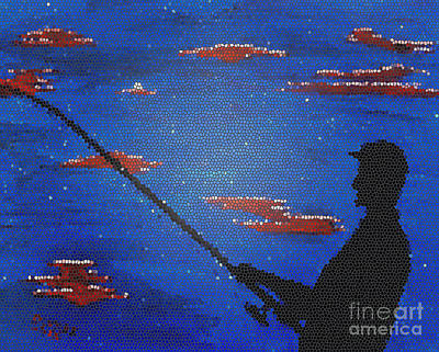 Fishing Painting - Arnold Glass by Michael Moore