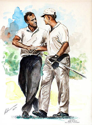 Golf Art Painting - Arnold Palmer And Jack Nicklaus Watercolour Sketch by Mark Robinson
