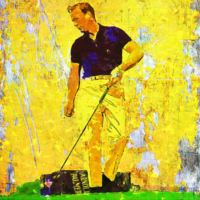 Professional Golf Painting - Arnold Palmer Legend In Yellow by John Farr