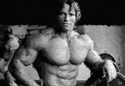 Bodybuilding Painting - Arnold Schwarzenegger Art by Queso Espinosa