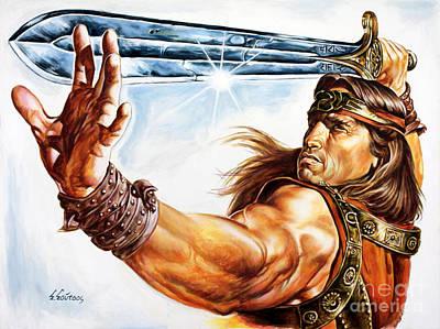 Schwarzenegger Painting - Arnold Schwarzenegger - Conan by Spiros Soutsos