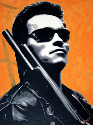 The Universe Painting - Arnold Schwarzenegger by Ludzska Hood