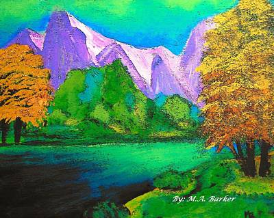 Merging Painting - Arora Borealis Mountain Image by Mary ann Barker