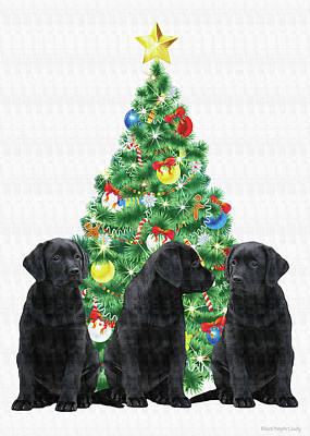 Labrador Retriever Digital Art - Around The Christmas Tree by Black Dog Art Judy Burrows