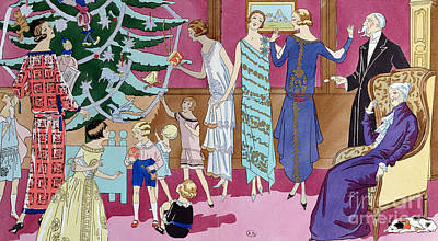 Interior Scene Painting - Around The Christmas Tree by French School