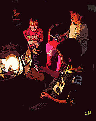 Painting - Around The Fire Pit by CHAZ Daugherty
