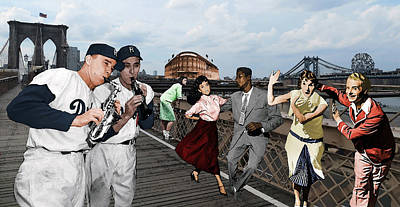 Brooklyn Dodgers Digital Art - Around The Horn With Pee Wee And Gil by George Curcio