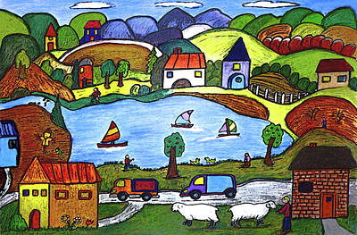 Work Place Drawing - Around The Lake by Monica Engeler