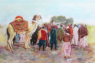 Painting - Around The Music Party by Khalid Saeed