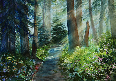 Light And Dark Painting - Around The Path by Kerri Ligatich