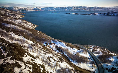 Photograph - Aroysundet Aerial Near Alta Finnmark Norway by Adam Rainoff