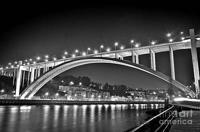 Photograph - Arrabida Bridge - Porto City - Portugal - Black And White by Carlos Alkmin