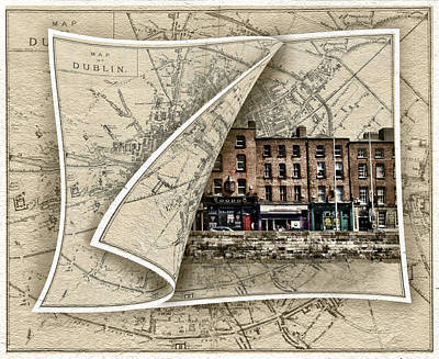 Photograph - Arran Quay Dublin Map by Sharon Popek