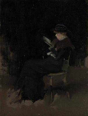 Whistler Painting - Arrangement In Black - Girl Reading by James Abbott McNeill Whistler