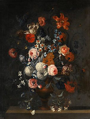 Painting - Arrangement Of Tulips A Peonie Forget-me-not And Other Flowers In A Vase On A Ledge by Simon Hardime