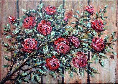 Arrangement With Roses Art Print by Nikolas Katsiliotis