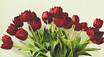 Photograph - Array Of Red Tulips by Nadalyn Larsen