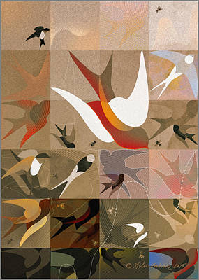 Abstract Digital Drawing - Arraygraphy - Birdies Sepia, Part 2 by Arthur Babiarz