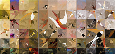 Abstract Digital Drawing - Arraygraphy - Birdies Sepia, Triptych  by Arthur Babiarz
