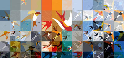 Abstract Digital Drawing - Arraygraphy - Birdies Triptych by Arthur Babiarz