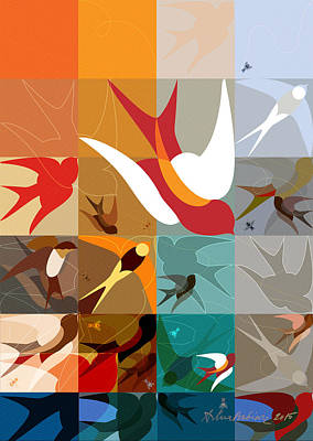 Abstract Digital Drawing - Arraygraphy - Birdies Triptych Part2 by Arthur Babiarz