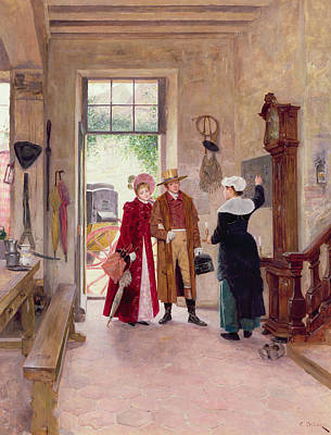 Couple Painting - Arrival At The Inn by Charles Edouard Delort