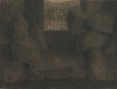 20th Drawing - Arrival In A Dark Landscape by Herbert Crowley