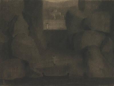 Arrival In A Dark Landscape Art Print
