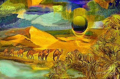 Camel Caravans Mixed Media - Arrival In The Oasis by Anne Weirich