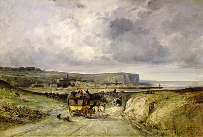 Horse Drawn Carriage Painting - Arrival Of A Stagecoach At Treport by Jules Achille Noel