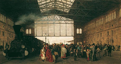 Arrival Of A Train At Vienna Northwest-station Art Print
