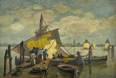 Painting - Arrival Of The Fishing Boat by Ludwig Dill